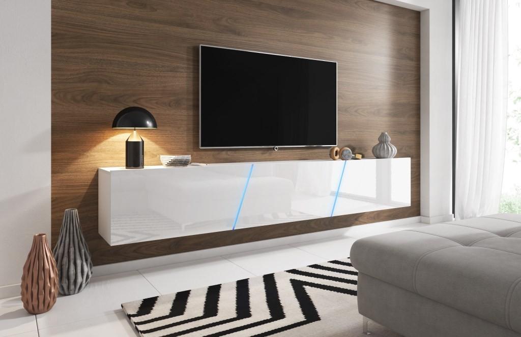 Zwevend TV meubel hooglans wit